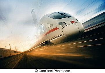 поезд, перемещение, быстро