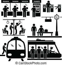 поезд, пригородный, станция, метро, человек