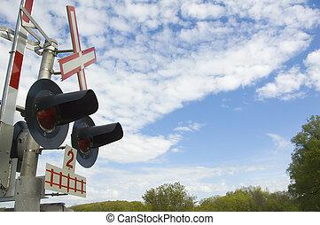 поезд, lights, and, знак, возле, поезд, пересечение