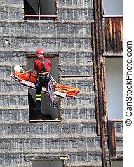 пожарник, в течение, упражнение, carries, , носилки