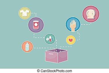 пожертвование, коробка, icons