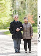 пожилой, гулять пешком, парк, пара, аллея