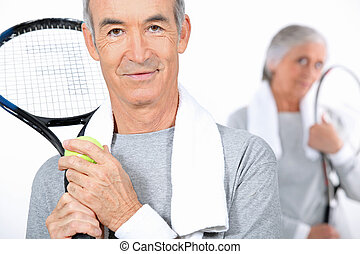 пожилой, пара, большой теннис, playing, вместе