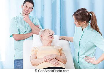 пожилой, пациент, в, больница