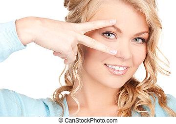 показ, женщина, полированный, nails, рука