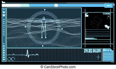показ, интерфейс, цифровой, revolving