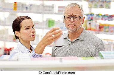 показ, лекарственный, аптека, старшая, фармацевт, человек