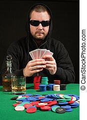 покер, игрок, носить, солнечные очки