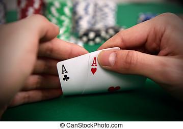 покер, игрок, with, два, aces
