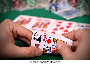 покер, игрок, with, два, kings