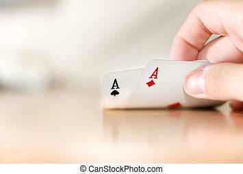 покер, пара, of, aces