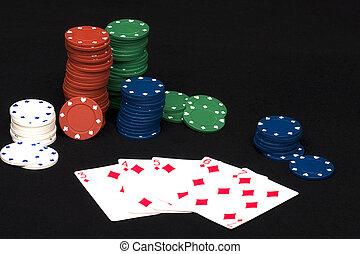 покер, прямо, промывать