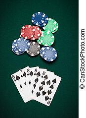 покер, рука, прямо, промывать