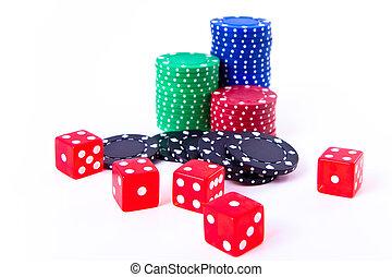 покер, чипсы, and, игральная кость