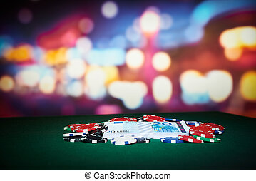 покер, чипсы, with, деньги