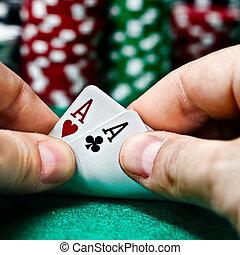 покер, aces, пара