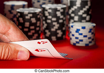 покер, game., man's, рука, with, , пара, of, aces