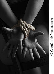 покорный, рабство, обнаженный, handcuffed, акт, женщина
