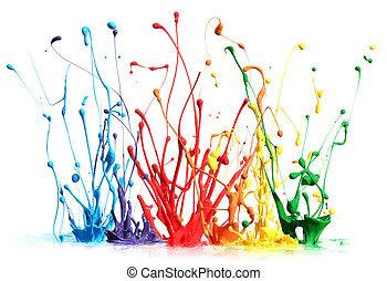покрасить, splashing, белый, isolated, красочный