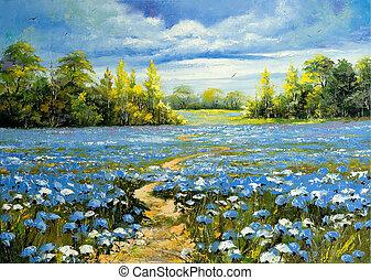 поле, blossoming, через, дорога, cornflowers