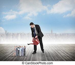 полив, композитный, крошечный, команда, бизнес, бизнесмен, ...