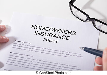 политика, крупный план, homeowners, страхование, форма