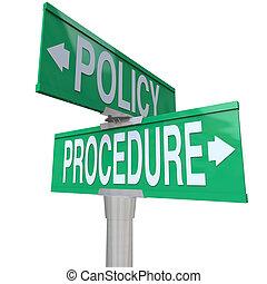 политика, процедура, два, путь, улица, дорога, знаки,...