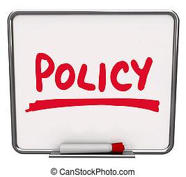 политика, слово, уведомление, доска, следовать, процедура,...