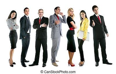 полный, группа, бизнес, толпа, люди, длина, команда
