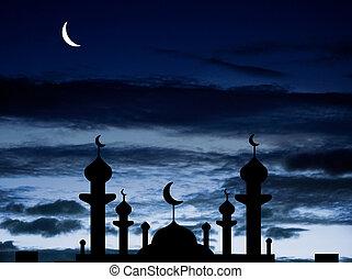 половина, мечеть, луна