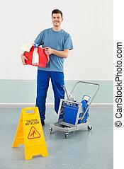 пол, работник, знак, equipments, осторожность, уборка, влажный