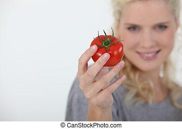 помидор, женщина, держа