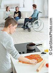 помидор, соус, preparing, человек