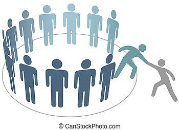помощник, helps, друг, присоединиться, группа, of, люди,...