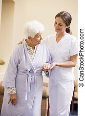 помощь, медсестра, женщина, старшая, ходить