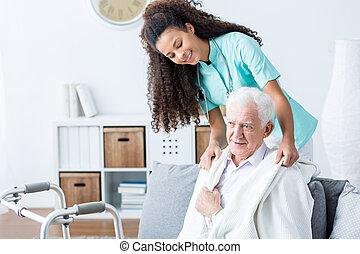 помощь, старшая, врач, человек