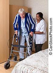 помощь, rollator, медсестра
