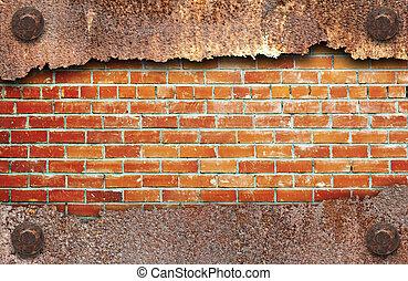 порванный, металл, текстура, над, кирпич, стена, задний план