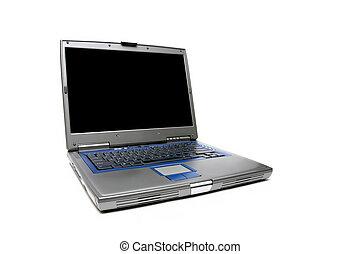 портативный компьютер, блокнот, над, белый