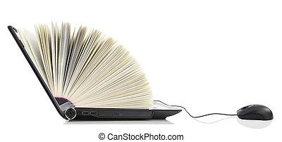 портативный компьютер, книга, компьютер