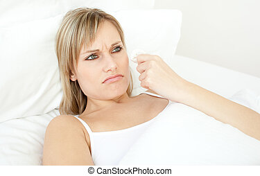 портрет, лежащий, больной, постель, женщина