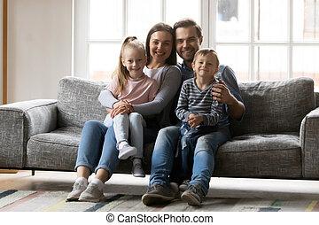 портрет, немного, семья, счастливый, children, молодой