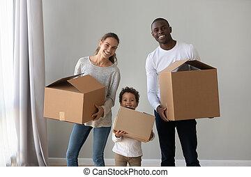 портрет, семья, перемещение, счастливый, международный, ребенок
