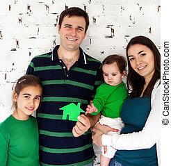 портрет, счастливый, семья, улыбается