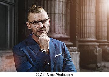 портрет, of, бизнесмен