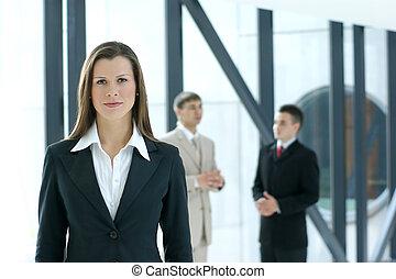 портрет, of, бизнес, команда