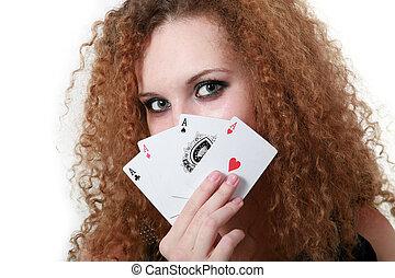 портрет, of, девушка, with, красный, aces