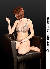 портрет, of, , красивая, женщина, в, сексуальный, нижнее белье