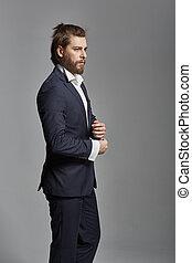 портрет, of, , красивый, человек, носить, костюм
