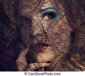портрет, of, красота, молодой, женщина, через, шнурок, закрыть, вверх, mistery